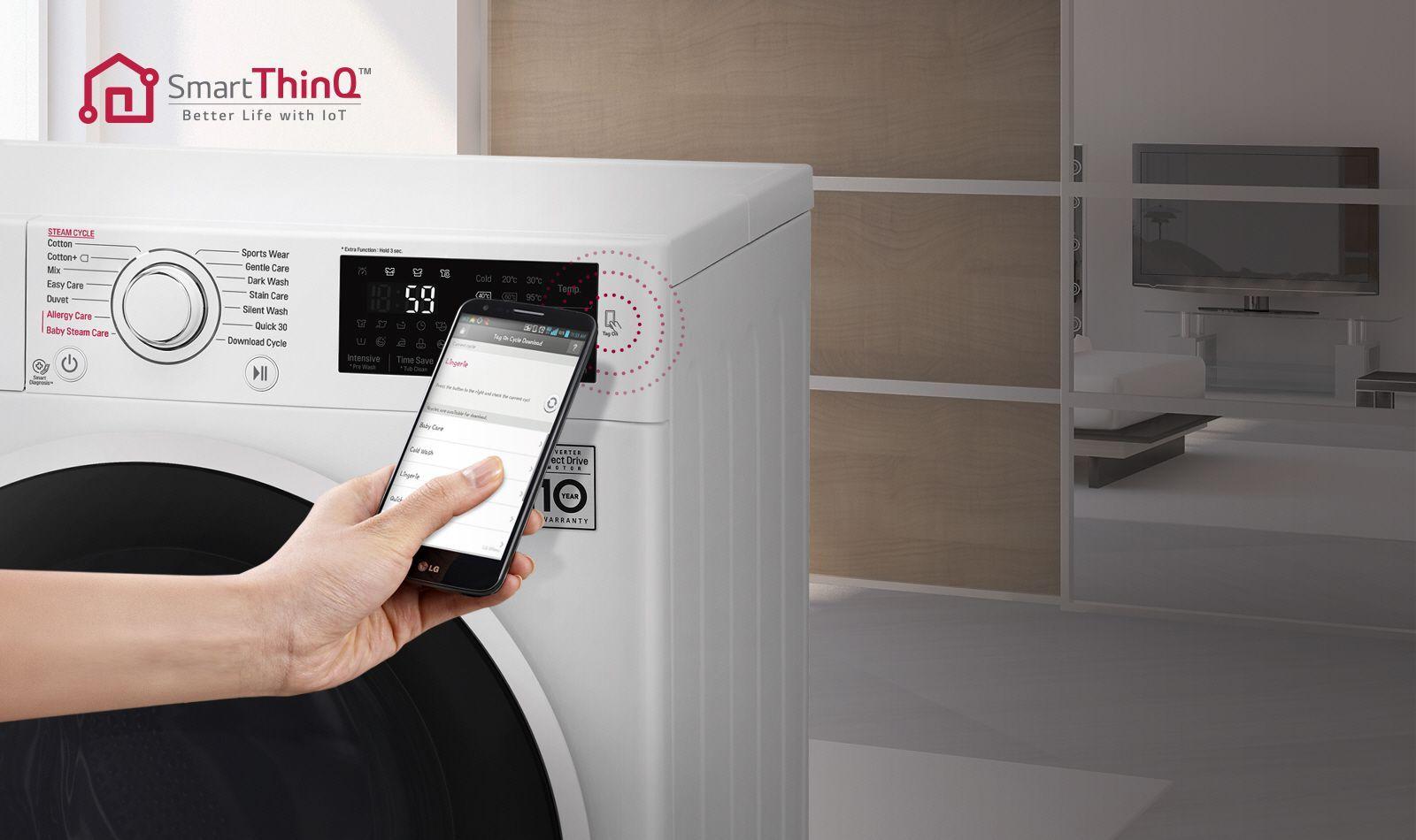 تکنولوژی SmartThinQ در ماشین لباسشویی ال جی F4J6VYP2W